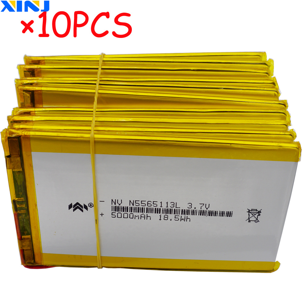XINJ 10pcs <font><b>3.7V</b></font> <font><b>5000mAh</b></font> lithium polymer <font><b>battery</b></font> <font><b>lipo</b></font> cell 5565113 For GPS PSP Ebook PAD Portable Power bank tv box DVD Tablet PC image