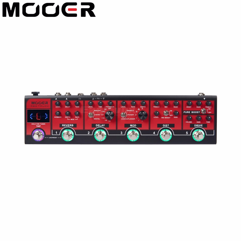 MOOER Red Truck Effect Pedal Modulation Delay Reverb Distortion Overdrive Boost Modules Built-in Tuner Tap Tempo mooer flex boost guitar pedal with wide gain range boost enough working along as a best overdrive