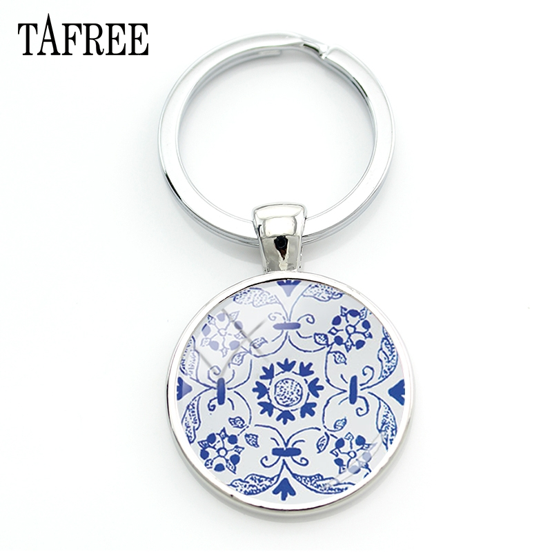 TAFREE Azulejo Portugues Graphic Key Chain Geometric Portugal Keychain Vintage Classic Personalized Bag Car Key Jewelry AP23