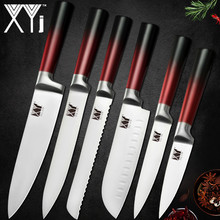 купить XYj Stainless Steel Kitchen Knife Set Gradient Color Handle 8'' 7'' 5'' 3.5'' Chef Bread Slicing Santoku Utility Paring Knife по цене 771.49 рублей
