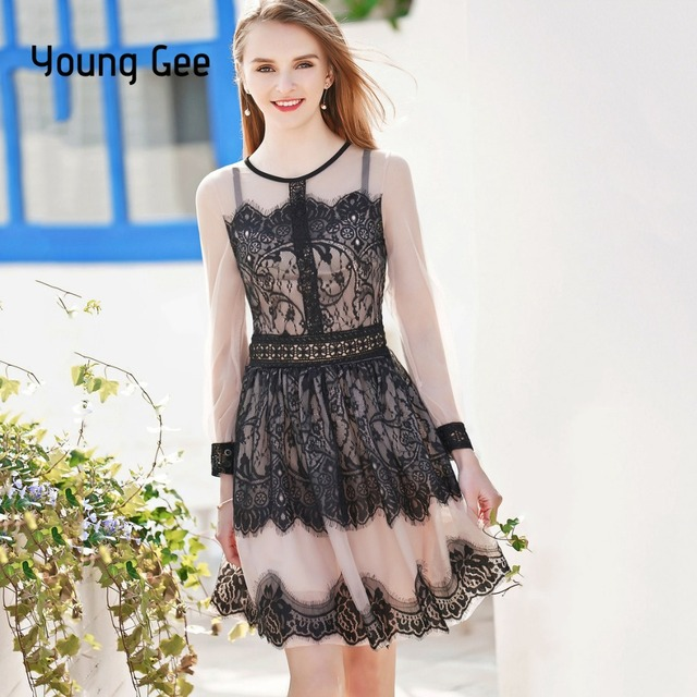 Young Gee Women s Vintage Long Sleeve Floral Lace Party Dress Cute Cocktail  Bow Gown Swing Dresses Vestido de festa Robe Femme 702a92e55