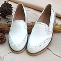 Genuine leather big woman US size 11 designer vintage flat shoes round toe handmade brown white 2017 oxford shoes for women fur
