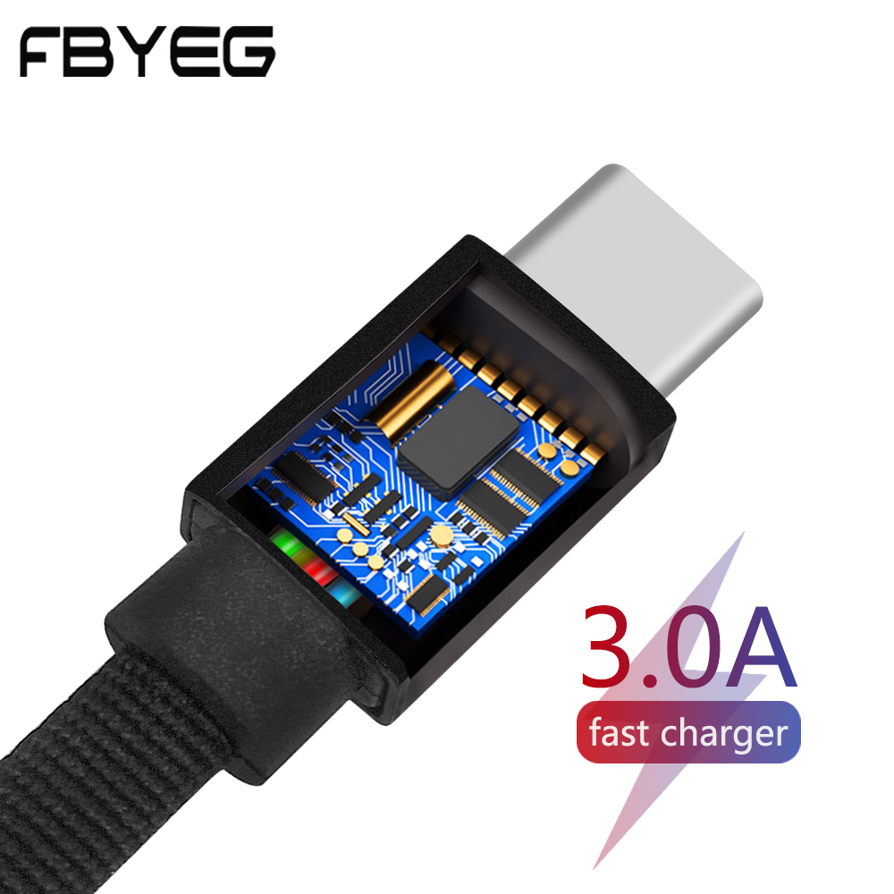 FBYEG Type C noodle Cable for power bank Travel Spare  3A Quick Charger Micro USB lighting cable Cord Portable Colorful line|Mobile Phone Cables| |  - AliExpress