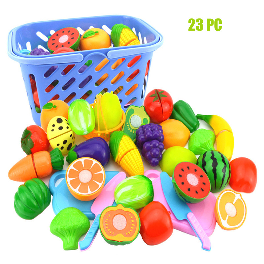 Kids Pretend Role Play Kitchen Fruit Vegetable Food Toy Cutting Set Gift Educational Simulation Kitchen Pretend Play Toy D7