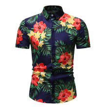 MarKyi 2019 New Fashion Floral Print Slim Fit Shirts Mens Long Sleeve Casual Dress