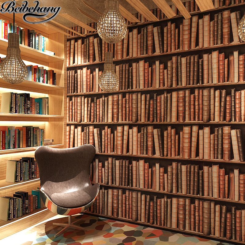 beibehang Bookshelf wallpaper 3d stereo Chinese wall wallpaper European study library library entrance decoration wallpaper library lion