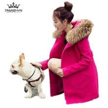 2017 Winter New Big Fur Collar Hooded Woolen Coat Jacket Women Double breasted Slim Pure Color
