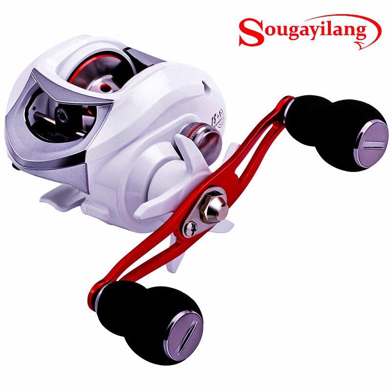 Sougayilang 18 + 1bb carretel de pesca forte arraste power 10kg branco à direita/canhoto carpa pesca rodas rastreamento
