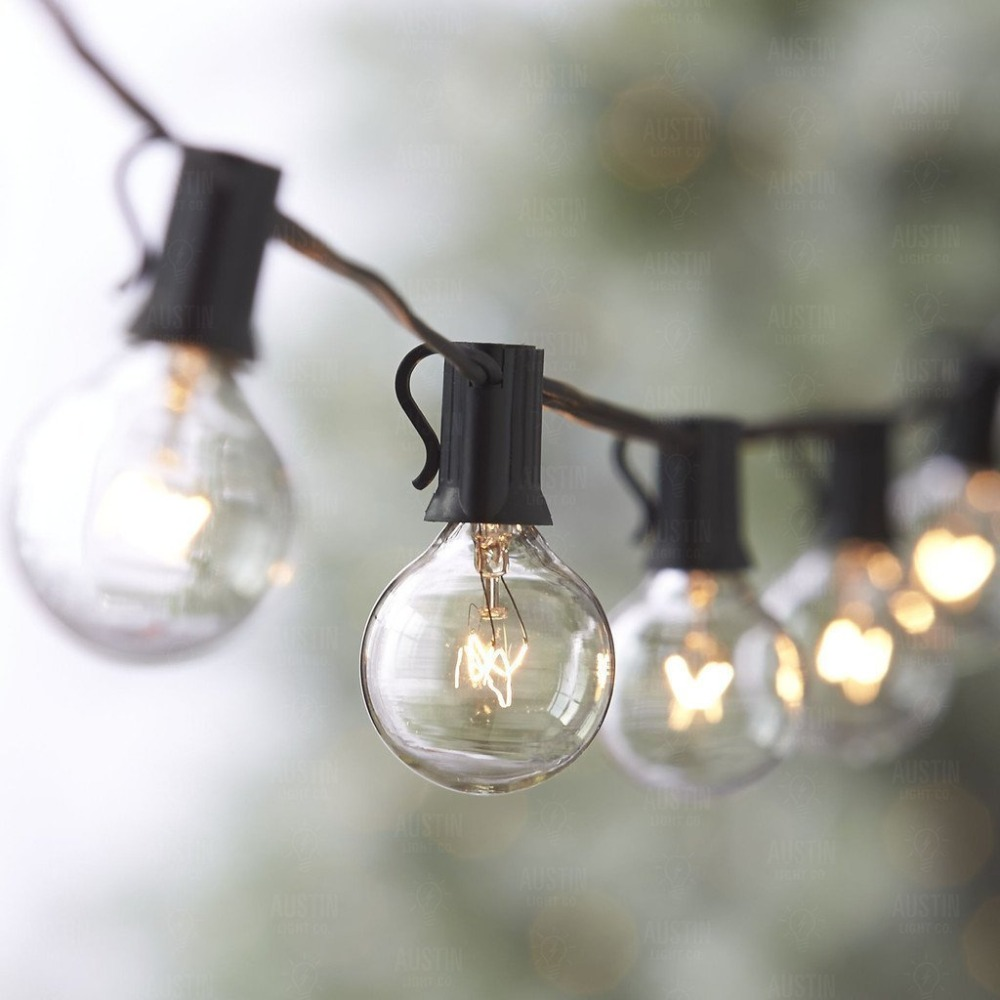 33ft Outdoor String Lights G40 String Light Bulbs Listed Festoon Lights For Indoor/Outdoor Cafe