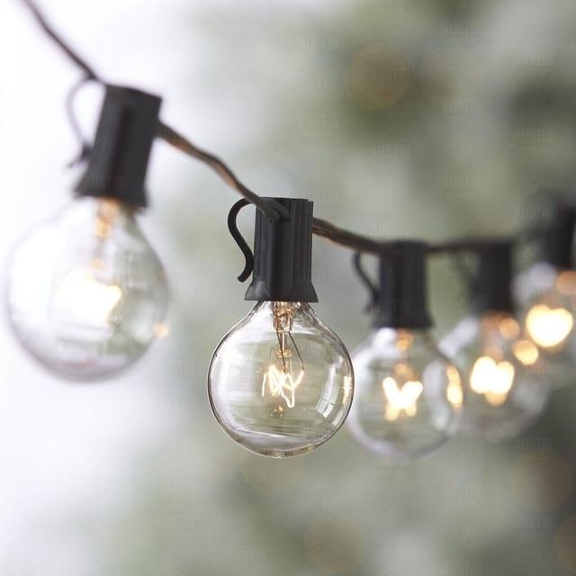 33ft Outdoor String Lights G40 String Light Bulbs Listed Festoon ...