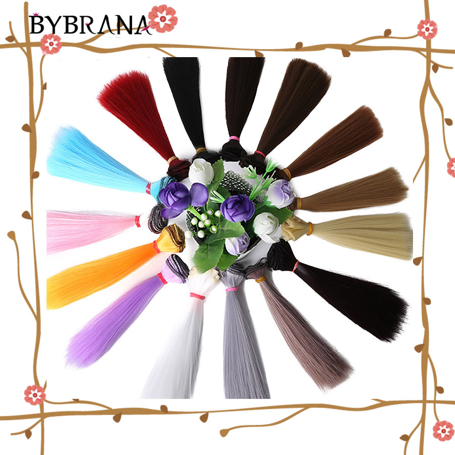 Bybrana 1pcs Hair 15cm*100CM Refires BJD Hair  Black Gold Brown White Color Short Straight Wig Hair For 1/3 1/4 BJD DIY