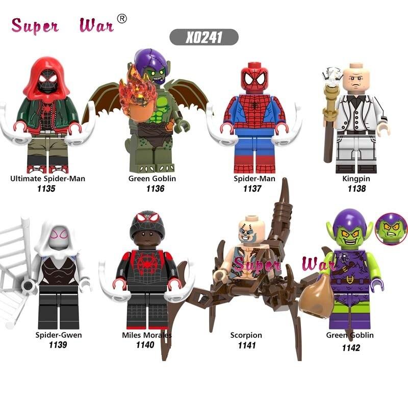50pcs Marvel Movie Spiderman Miles Green Goblin Ultimate Kingpin Noir Gwen scorpion building block for children