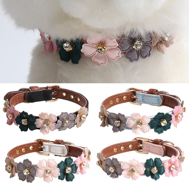 Flower Dog Collar Cute Studded Dogs Necklaces Pet Collars For Small Medium Dogs Pink/Black/Red Colors For Chihuahua