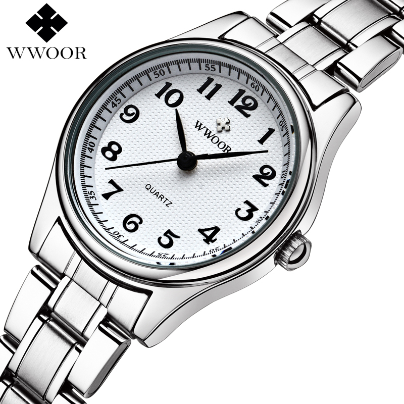 WWOOR Brand Luxury Stainless Steel Quartz Watch Analog Display Casual Wrist watch Small Lady Clock цена и фото