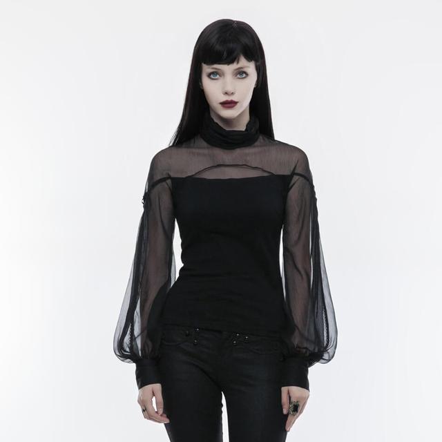 Gothic T Shirt Women Tops Perspective Lantern Sleeve T-shirt Imitation Silk Short Tshirt Sexy Women Tee Cotton Clothing for Lady