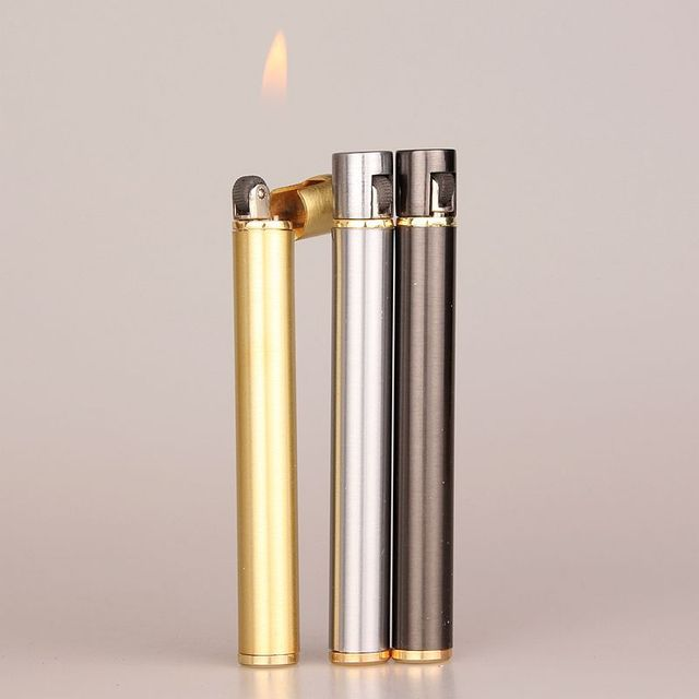 2018 New Creative Mini Compact Jet Butane Lighter Metal Cigarette Shaped Inflatable Gas Lighter Cigarette No Gas