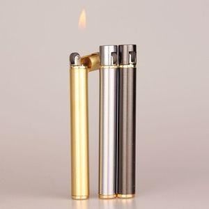 Image 1 - Mechero compacto de Metal de butano con forma de cigarrillo, mechero de Gas inflable, sin Gas, novedad, 2018