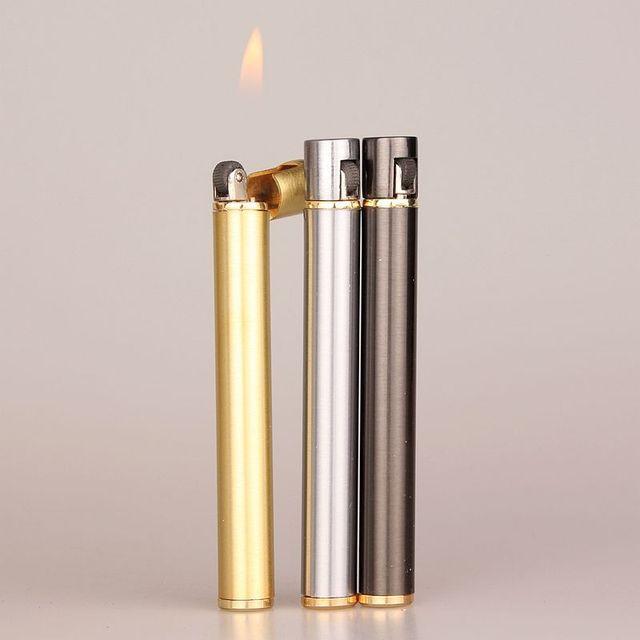 Mechero compacto de Metal de butano con forma de cigarrillo, mechero de Gas inflable, sin Gas, novedad, 2018