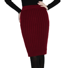 Autumn&Winter Casual Womens High Waist Knee-length Cable Knitted Pencil Sweater Skirts Bust Tube Skirt 2016 Free Shipping