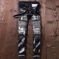 2017 Patchwork Distressed Motorcycle Jeans Men Denim Hiphop Joggers Ink Splash Designer Slim Fit Ripped Biker Skinny Jeans Pants