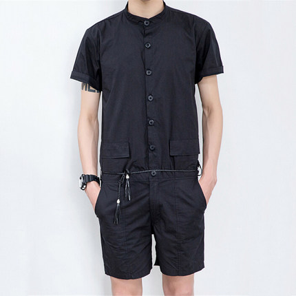 2018 mens clothing slim solid color male casual frock one piece shorts work clothesThe singers clothing M--6XL