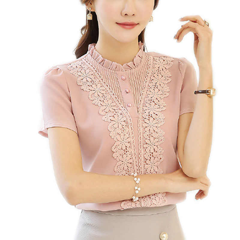 2019 新着ファッションスタイルの女性ブラウス甘いかわいい女性ブラウスプラスサイズ V ネック半袖シャツ白シャツ 37F 30