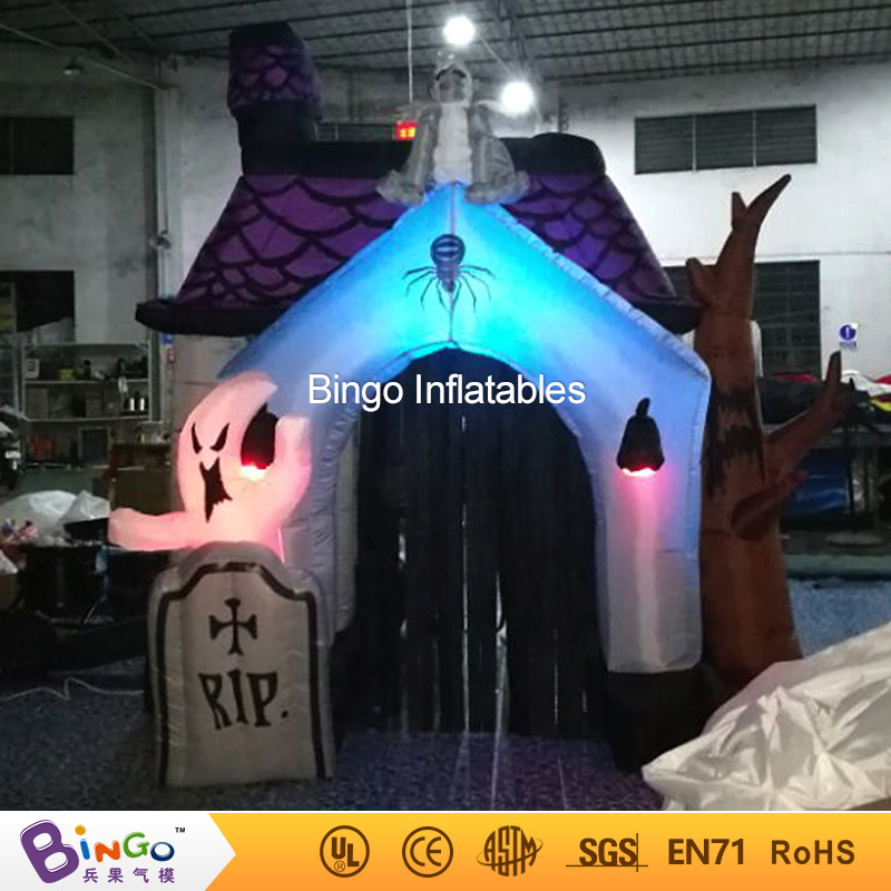 Halloween Inflatable Haunted House with led light, horror decoration -toy цена