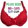Плюс размер Косточках Недополняющую Ультра тонкий Сексуальный Полный Шнурок Покрытия большая Чашка Бюстгальтеры Volumn 80-105 E/F Чашки Бюстгальтера Бесплатная Доставка H188