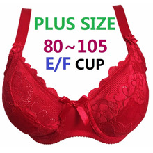 Plus size Underwired Non-padded Ultra thin Sexy Full Lace Coverage Big Cup Volumn Bras 80-105 E/F Cup Bra Free Shipping H188