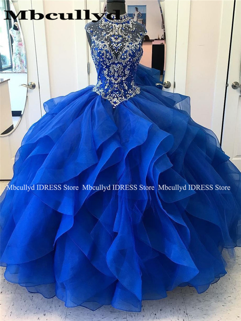 Royal Blue Tulle Quinceanera Dresses 2019 Red Beads Crystal Cascading Ruffles Ball Gown Sweet 16 Prom Dress Vestidos De 15 Anos
