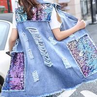 new sequined long vest women hole denim vest jacket loose size xxxl