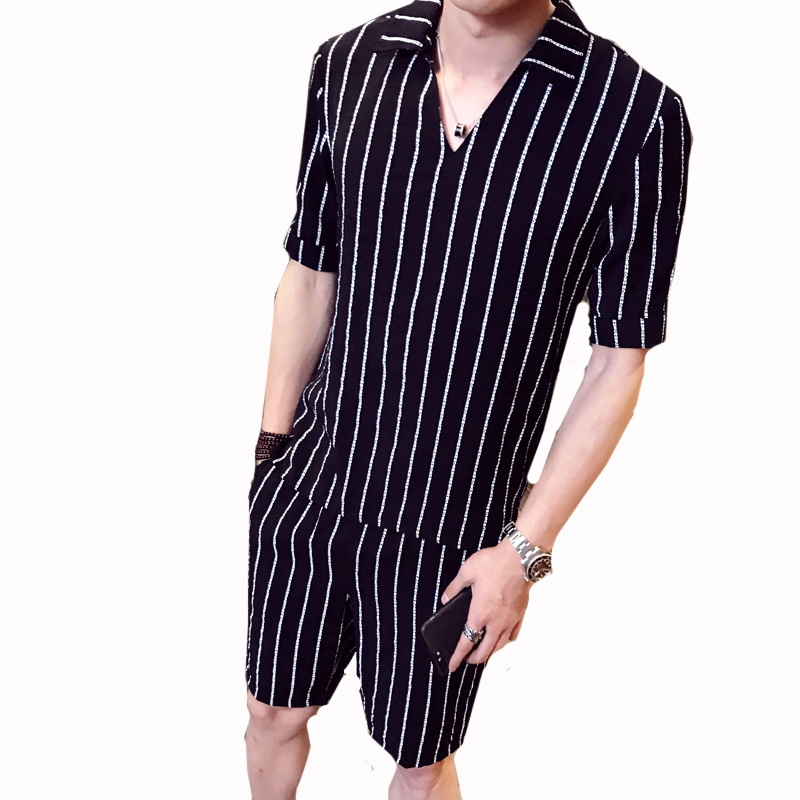 New Fashion 2 Piece Set Stripe Shirt Men Pullover Shirt + Shorts Causal Beach Set Homme Short Male Dress Suit Sets