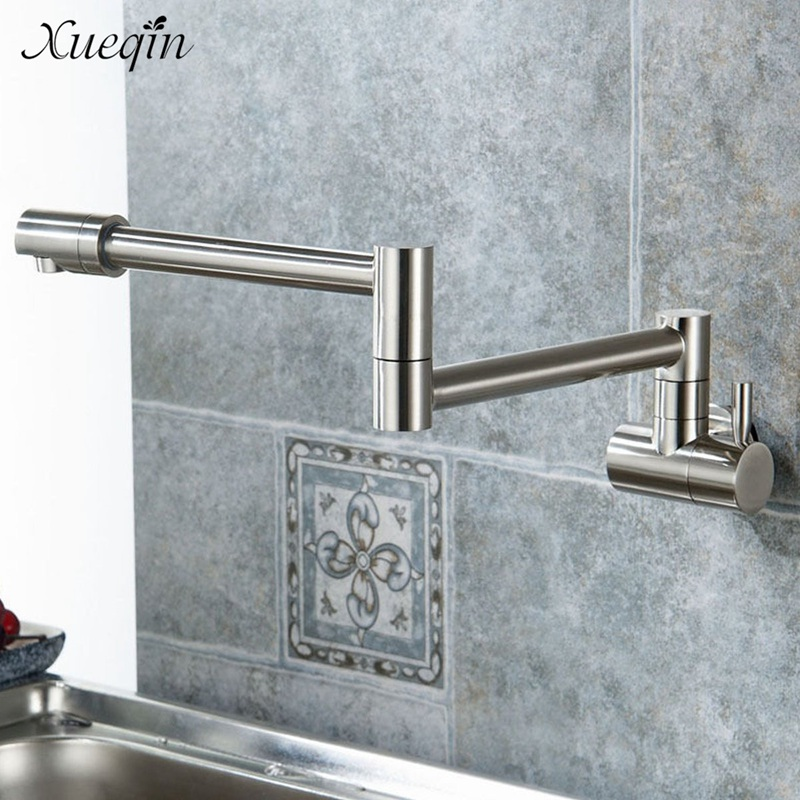 Xueqin Kitchen Swivel Water Faucet Single Hole Hot Cold Water Tap Swivel Foldable Bathroom Shower Basin
