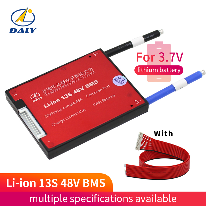 Daly 3.6V 3.7V 13S 48V E-bike Li ion battery 18650 BMS 15A 20A 25A 35A 45A 60A battery BMS Charging Voltage 54.6V With balanceDaly 3.6V 3.7V 13S 48V E-bike Li ion battery 18650 BMS 15A 20A 25A 35A 45A 60A battery BMS Charging Voltage 54.6V With balance