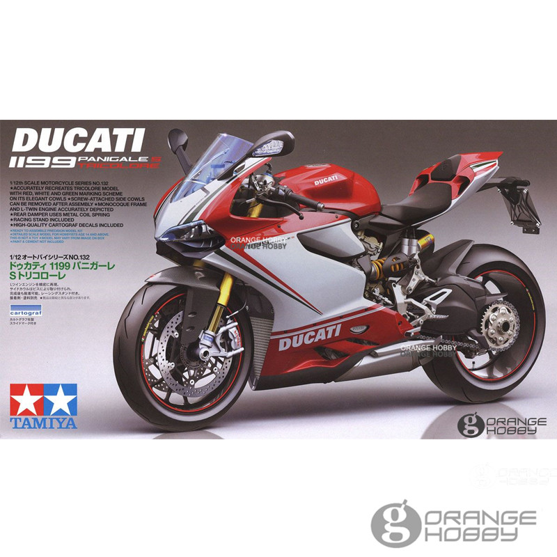 OHS Tamiya 14132 1/12 1199 Panigale S Tricolore Scale Assembly Motorcycle Model Building Kits oh tamiya 1 12 yamaha motorcycle model yzr m1
