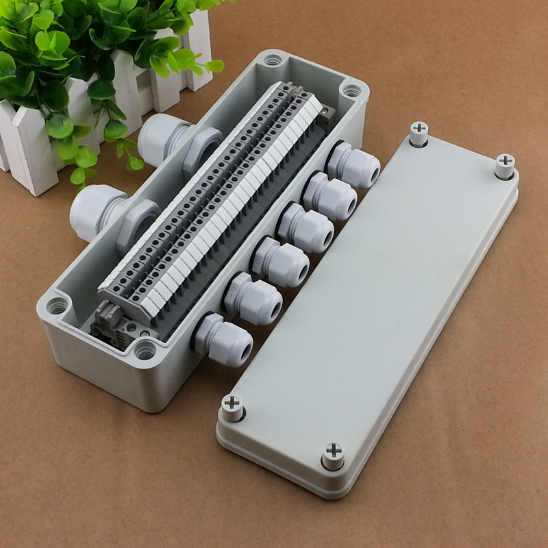 IP65 Waterproof Cable Junction Box 80*250*70mm two in four out with UK2.5B Din Rail Terminal Blocks оборудование распределения электроэнергии 2015 80 250 70 ip65 ce ds at 0825