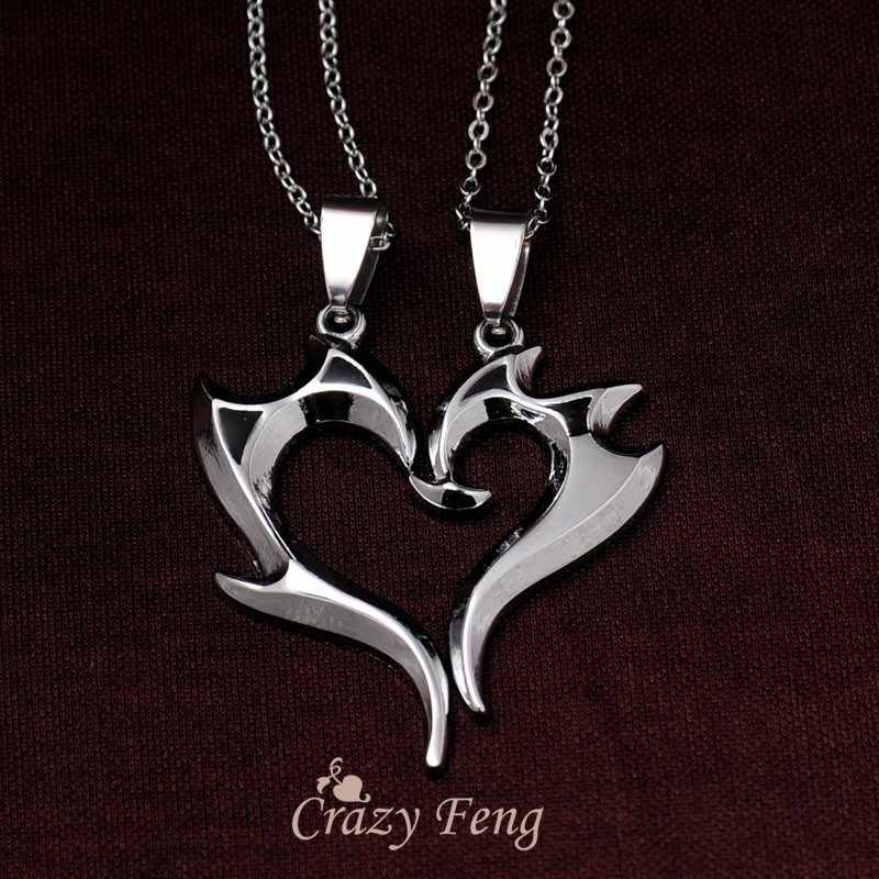 Two Dancers Makeup Heart Pendant Necklace Stainless Steel Silver Color Couple Necklace for Women/Wen Club Party Punk Jewelry