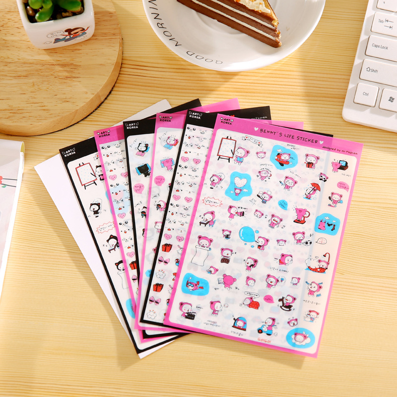 South Korean Creative Transparent Pvc Stickers Benny's Sticker Life Diary Photo Album Stickers