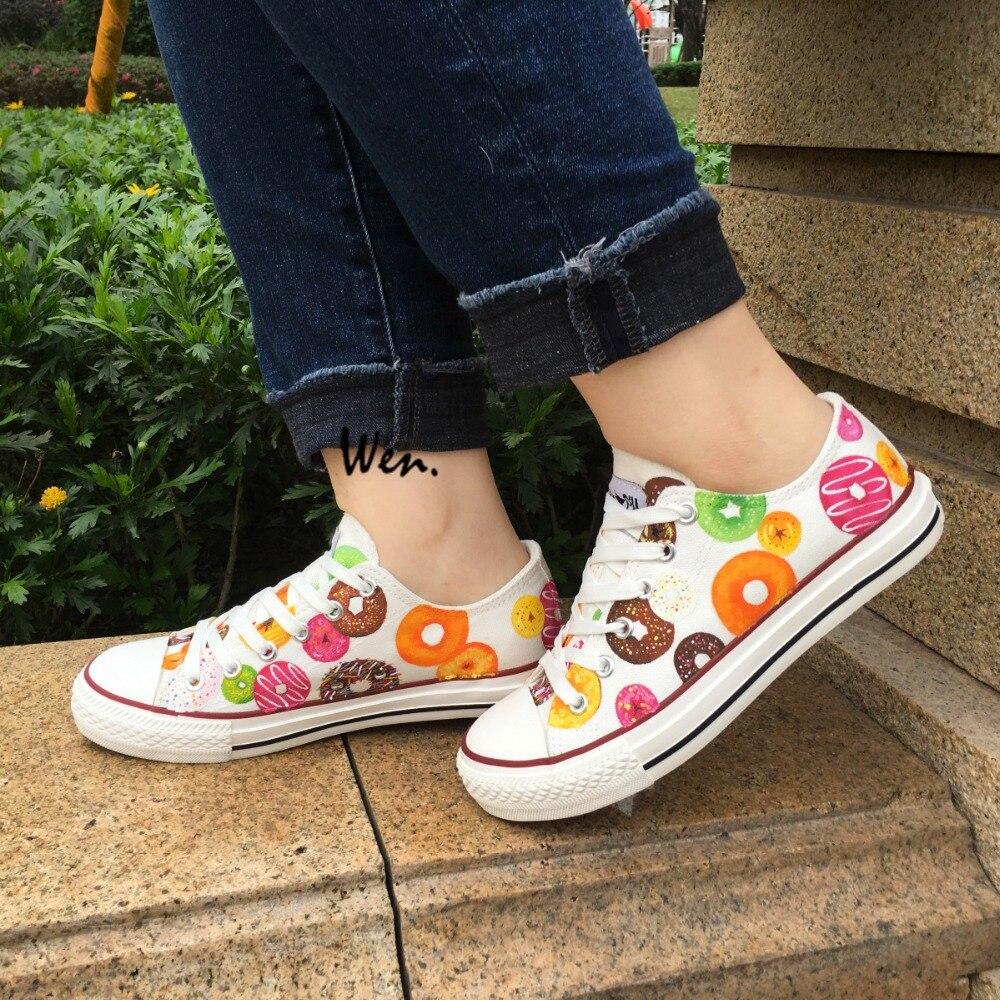 Wen baskets basses pour femmes hommes Design personnalisé coloré beignets toile chaussures appartements à lacets personnalisés cadeaux filles