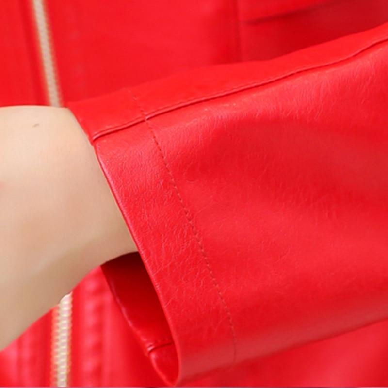 2018 Tuta Black Jaqueta orange Nuovo red De Breve Modo Dimensioni Grandi Autunno Couro Pelle red Genuino Signore Sportiva Cuoio Delle Slim 4xl Wine Giacca Di Donne rCxqwO1r