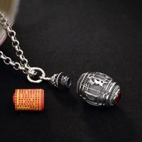 925 Sterling Silver Buddha Locket Pendants Buddhist Amulets Gawu Memorial Men Women Storage Necklace Om Mani Padme Hum Jewelry