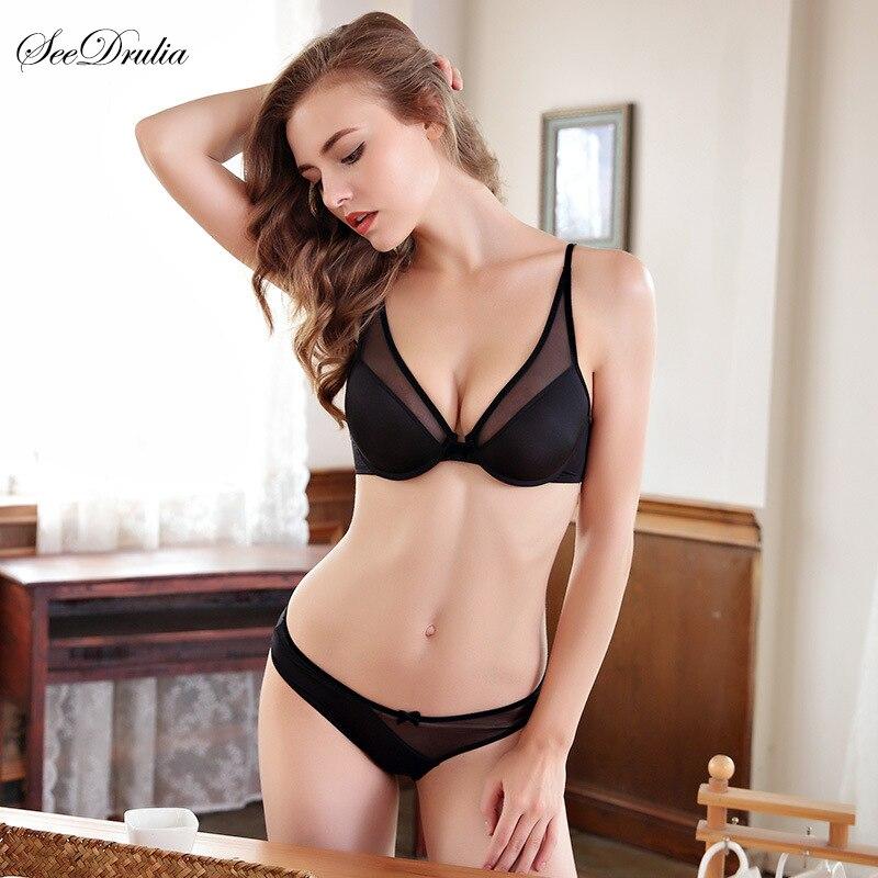 2018 Hot Sale push up Deep V Sexy bra panties set women's Intimates Bra Set Translucent Underwear set  Women Bra briefs set