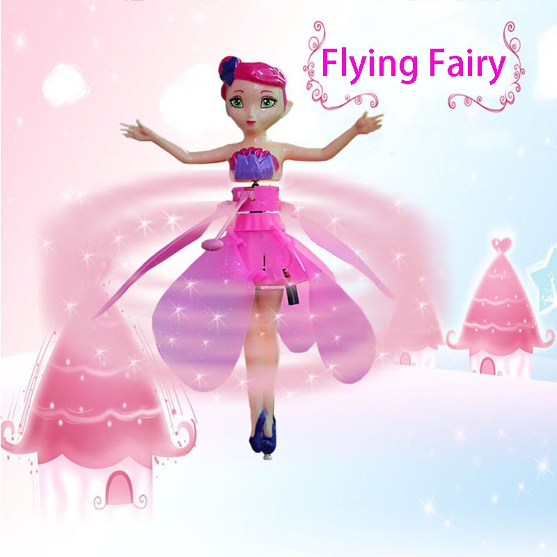 Hot Interesting Novelty Cute Flying Dolls For Girls Flying Electric Toys Flying Fairy Infrared Induction Control Xmas Gift