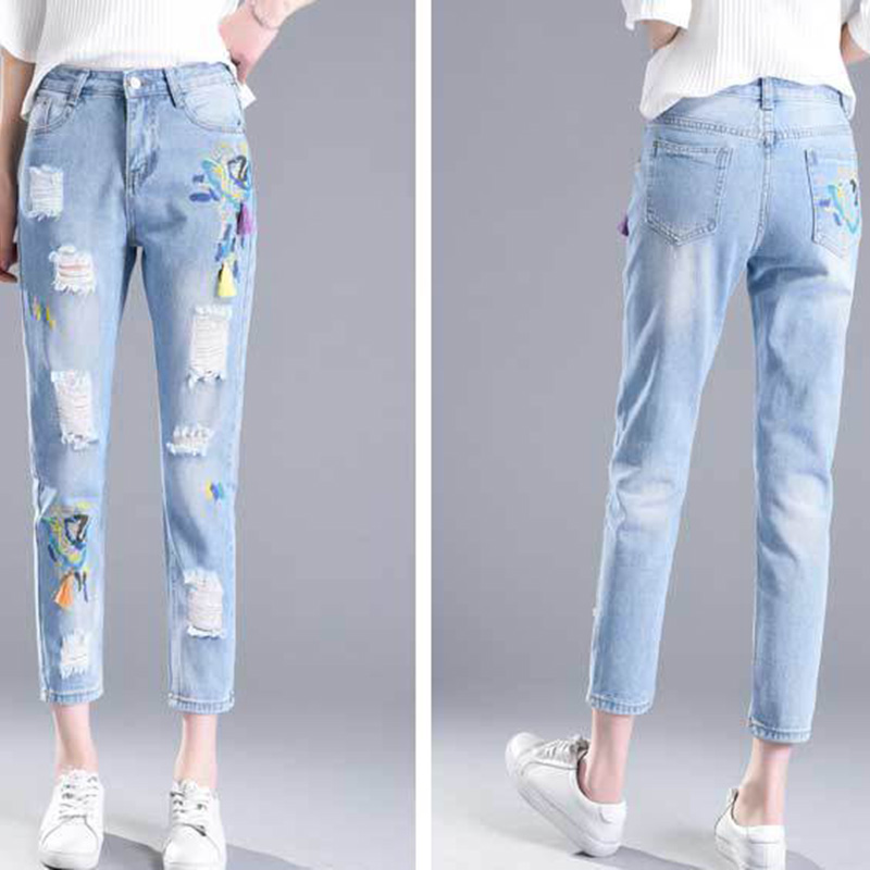 Hot Fashion Ankle-length Pants Women Embroidery Denim Pants Trousers Mid Waist Bleach Ripped Slim Pencil Pants Female Denim Pant 2017 fashion women jeans retro style floral embroidery ripped hole denim pencil pants vintage mid waist ankle length trousers