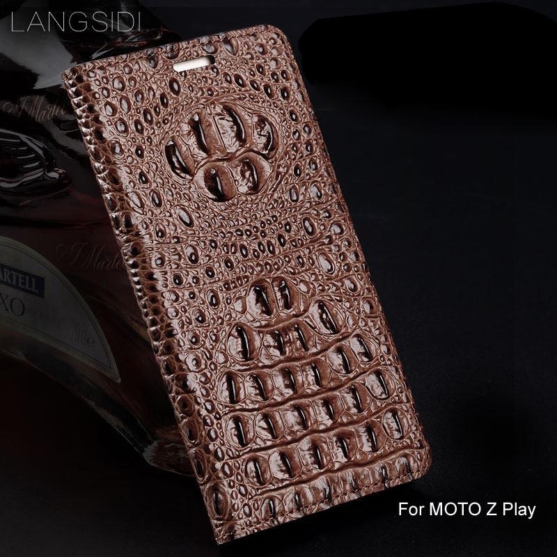 Wangcangli coque de téléphone flip en cuir véritable texture arrière Crocodile pour MOTO Z Play coque de téléphone tout fait à la main