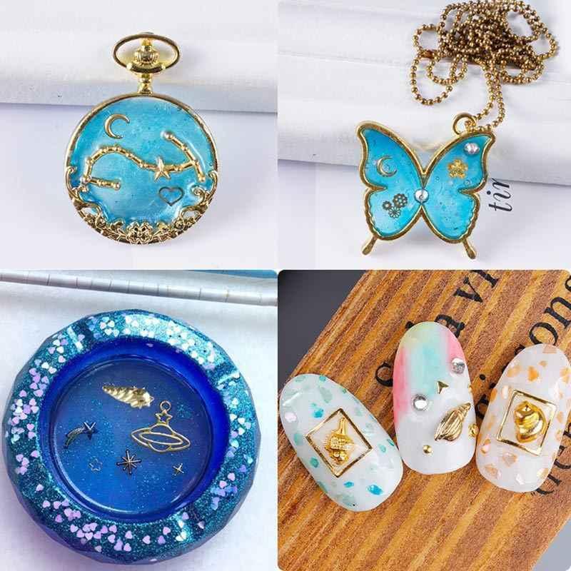 Concha dourada lua estrela diy enchimento de materiais resina uv charme colar brinco encontrar jóias fazendo