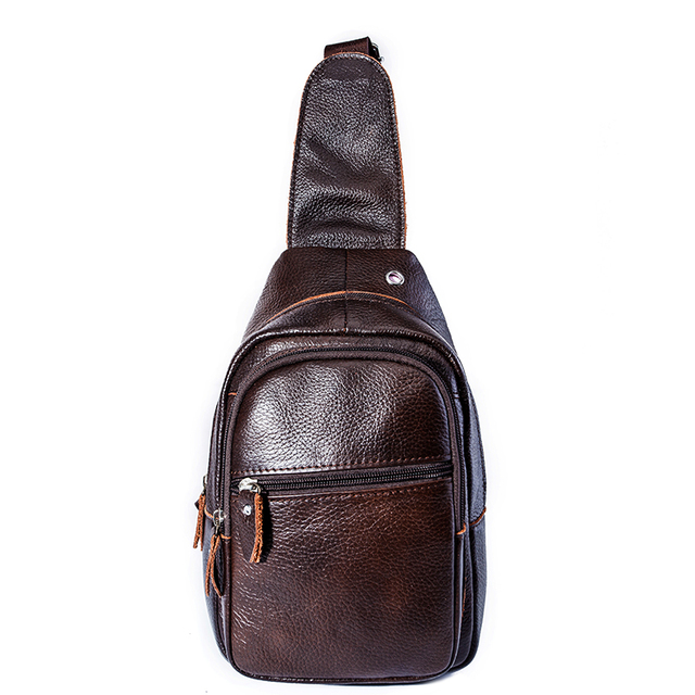 Hot 2017 New brand design fashion black genuine leather bag chest pack men  messenger bags vintage 67eab3e92e2e2