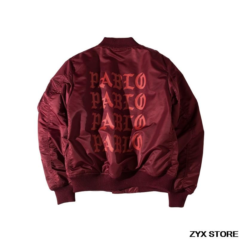 2017 Migliore Versione Pablo Il Tour Mondiale di Spessore Degli Uomini Delle Donne Cappotti giacca Kanye West Pablo Ma1 Bomber Caldo Giacche Autunno inverno