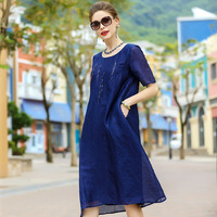 A4ZT956 Europe and United States brand Women Dress LINEN Silk Dress Sequins Nail Bead Summer Dress