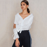 White Tie Cuff Sexy Off The Shoulder Shirts For Women Ladies OL Oversize Loose Monochrome V